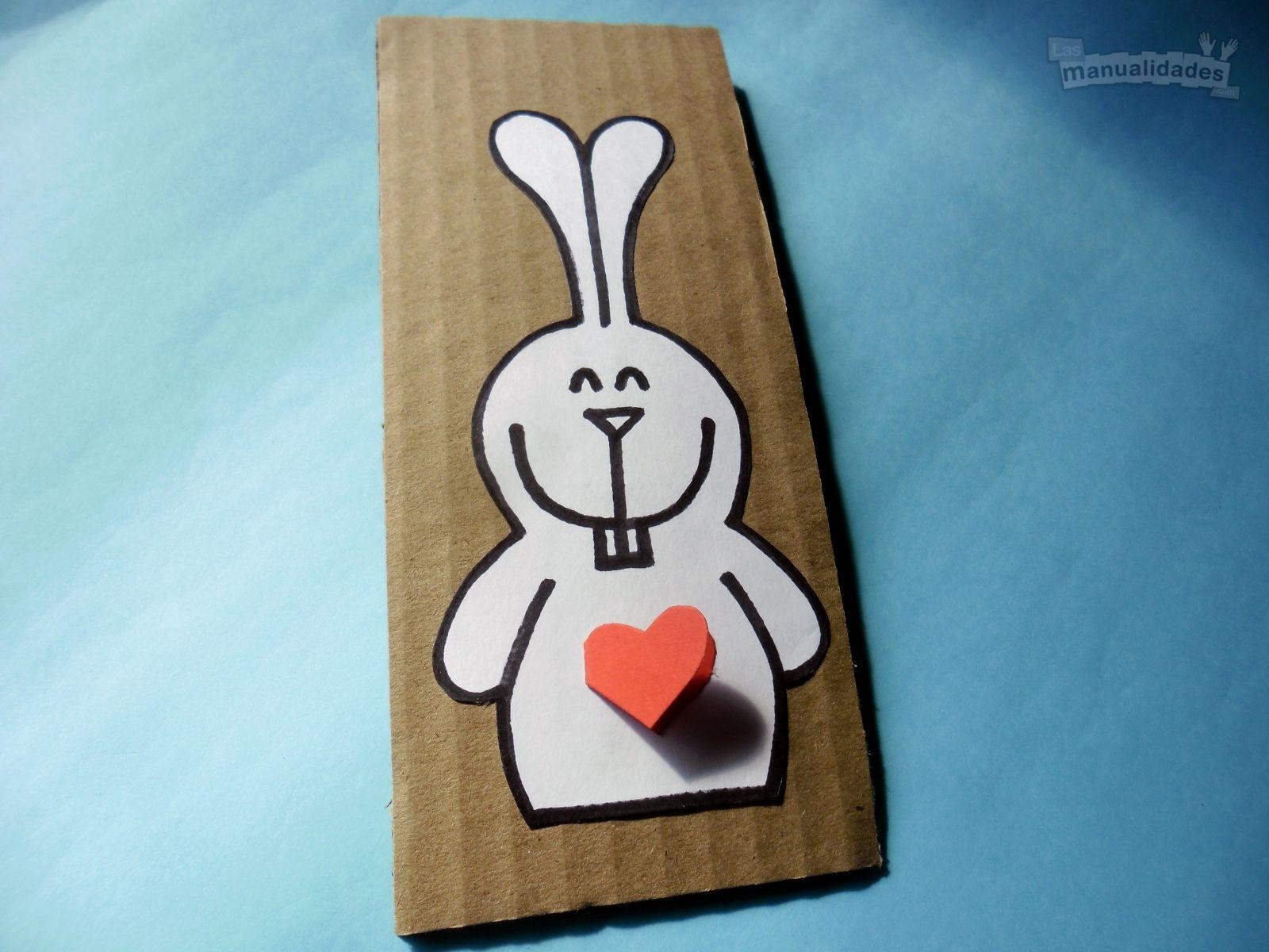 Tarjeta de conejo para regalar en Pascua