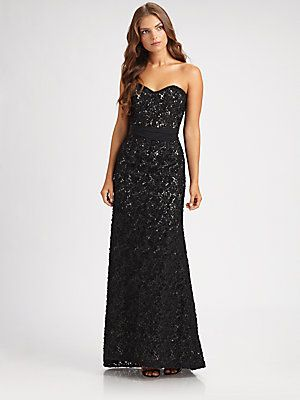 Badgley Mischka Strapless Lace Gown Moda Moda