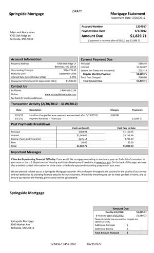 A Model Form For Mortgage Statements From The Consumer Financial Protection Bureau Mortgage Statement Mortgage Payoff