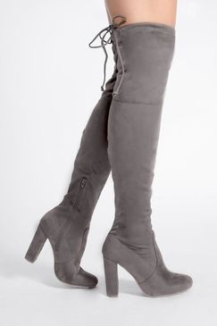 df58e4257a6 Remi Grey Faux Suede Over The Knee Heeled Boots