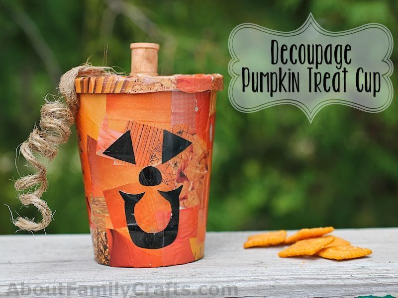 Decoupage Pumpkin Treat Cup Learn how to turn a purchased cup of - halloween catalog