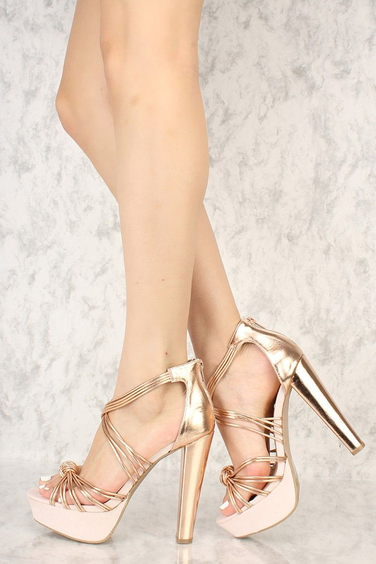 e0d6113102850e Rose Gold Knotted Strappy Detailing Open Toe Platform Chunky High Heels  Faux Leather