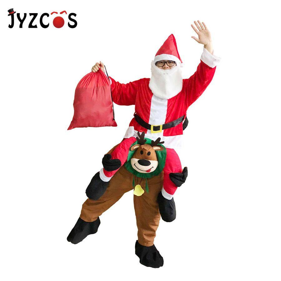 Santa Clause Ride On Reindeer Fancy Dress Xmas Mascot Costume Christmas Adult