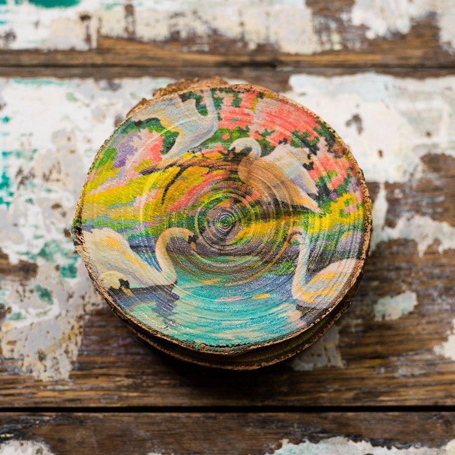 Colorful Vintage Paint-by-Numbers Swan Set of Printed Wood Coasters