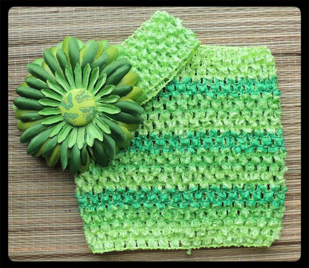 b395c2683d crochet headband top green Gerber daisy flower Celtic butterfly St.  Patrick s