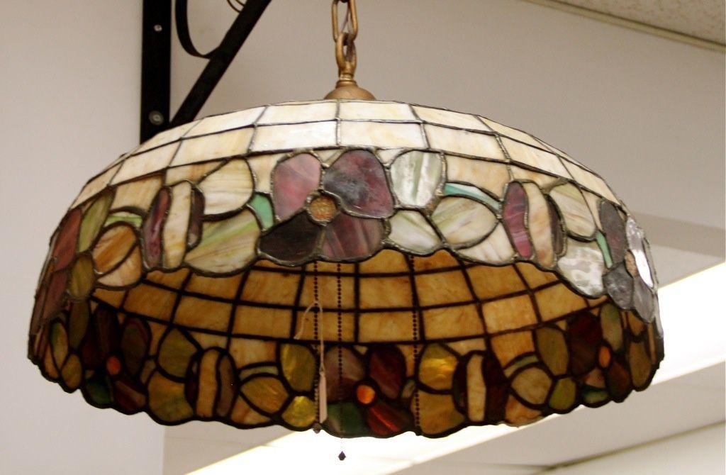 Antique Leaded Glass Light Fixture Sold Vidrio