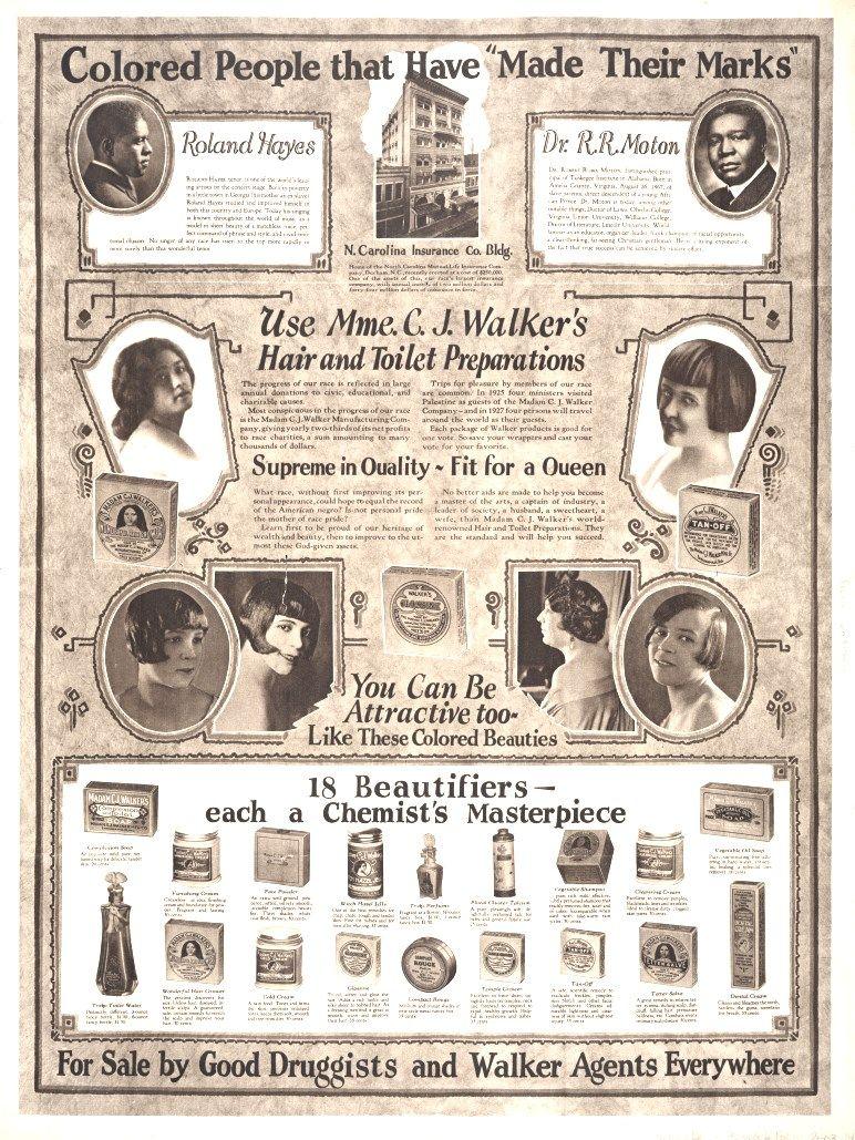 Vintage advertising for Madam C. J. Walker Manufacturing