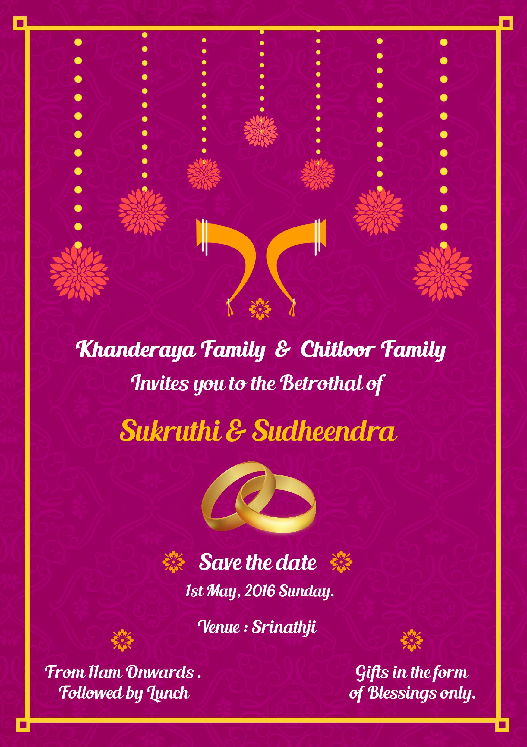 Simple South Indian Ring ceremony invite card