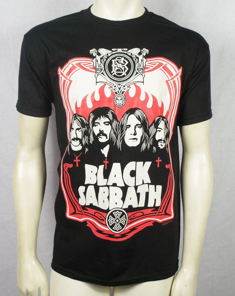 Black sabbath t shirt xxl - Authentic Black Sabbath Red Flames Group Portrait T Shirt S M L Xl Xxl Ozzy New