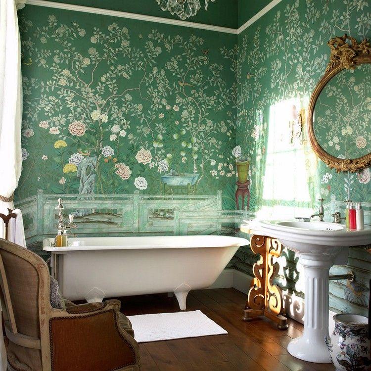 pose du papier peint vert à motifs floraux de style japonais