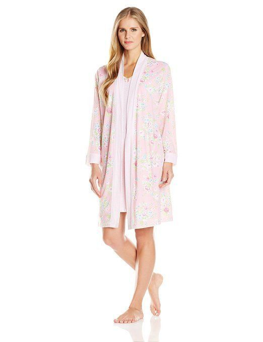 NWT Carole Hochman 2PC Pink Floral Nightgown Gown + Robe Set L NEW ...