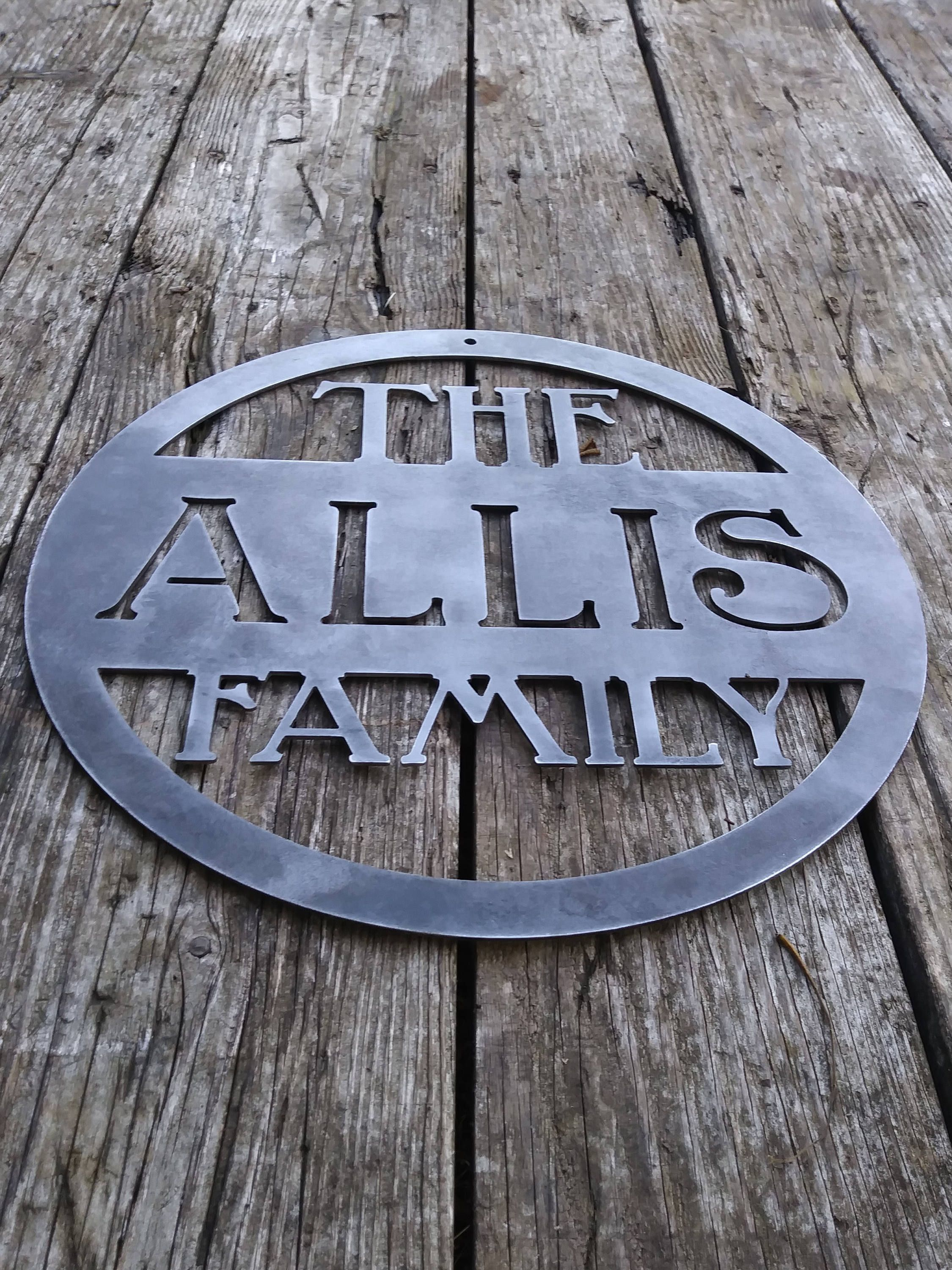 Metal Custom Sign Family Name Wedding Gift Personalized Last Home