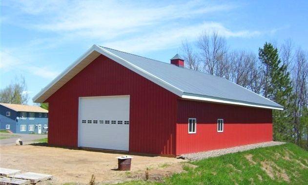 Red Barn With End Garage Door Pole Barns Farm