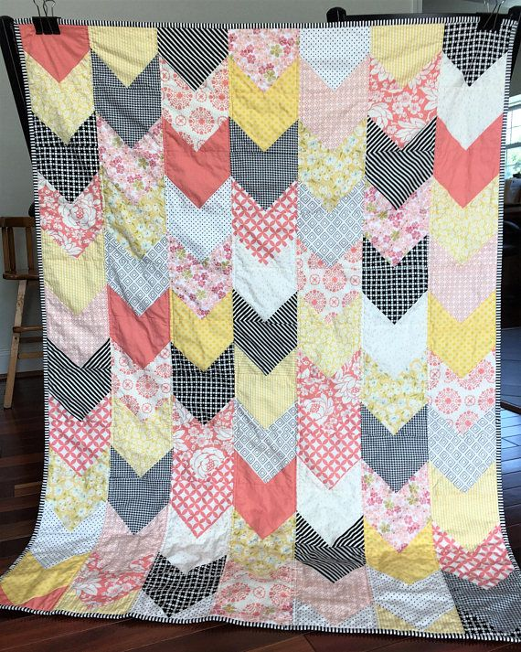blanket baby toddler girl pink yellow black white Modern patchwork quilt  53x40