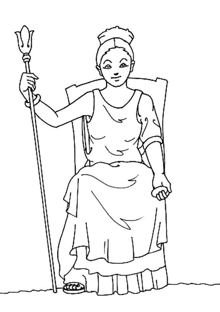 Hera Coloring Page Mitologia Grega Deuses Colorir Desenho