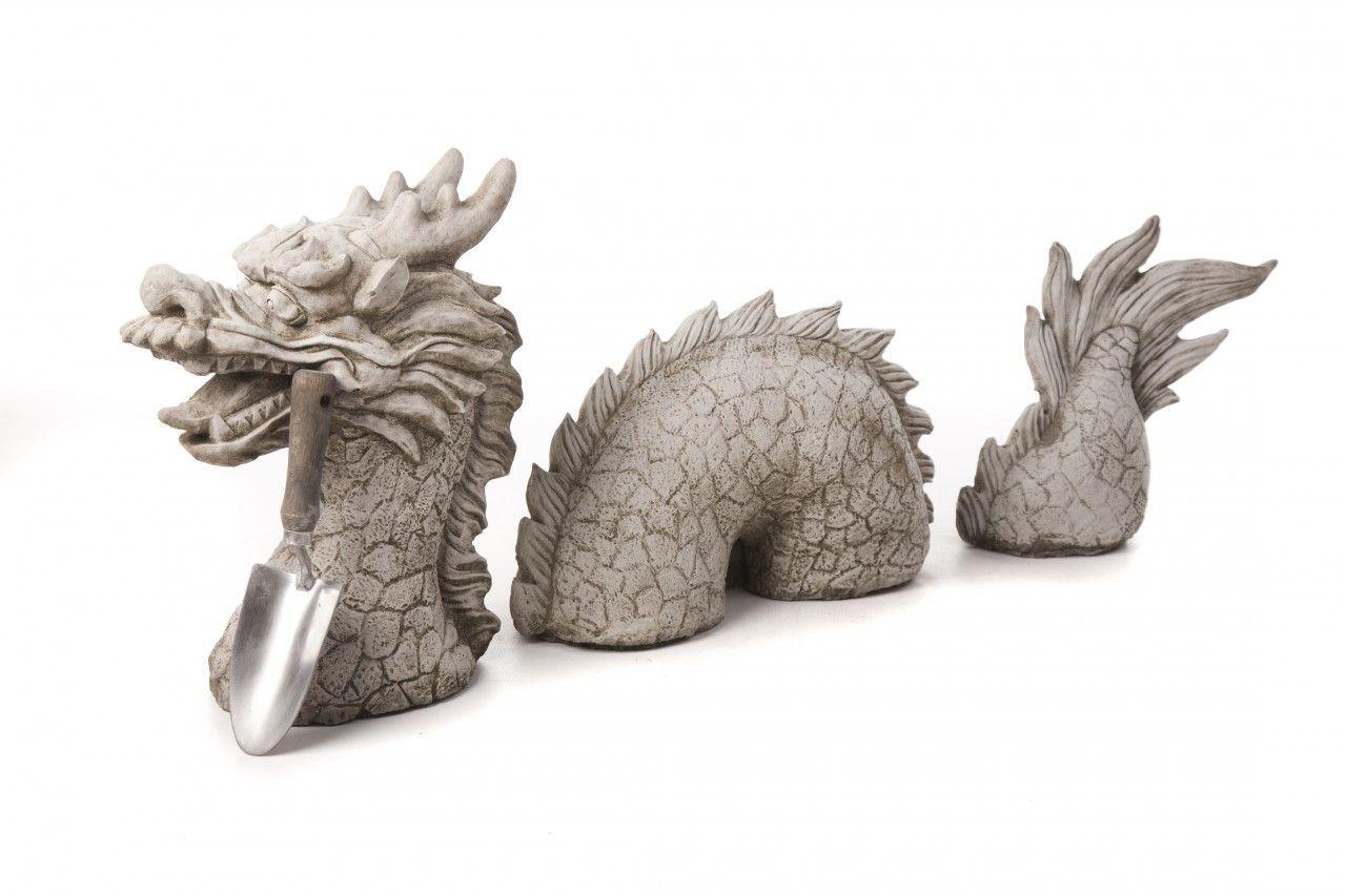 3 Piece Dragon Stone Cast Garden Ornament