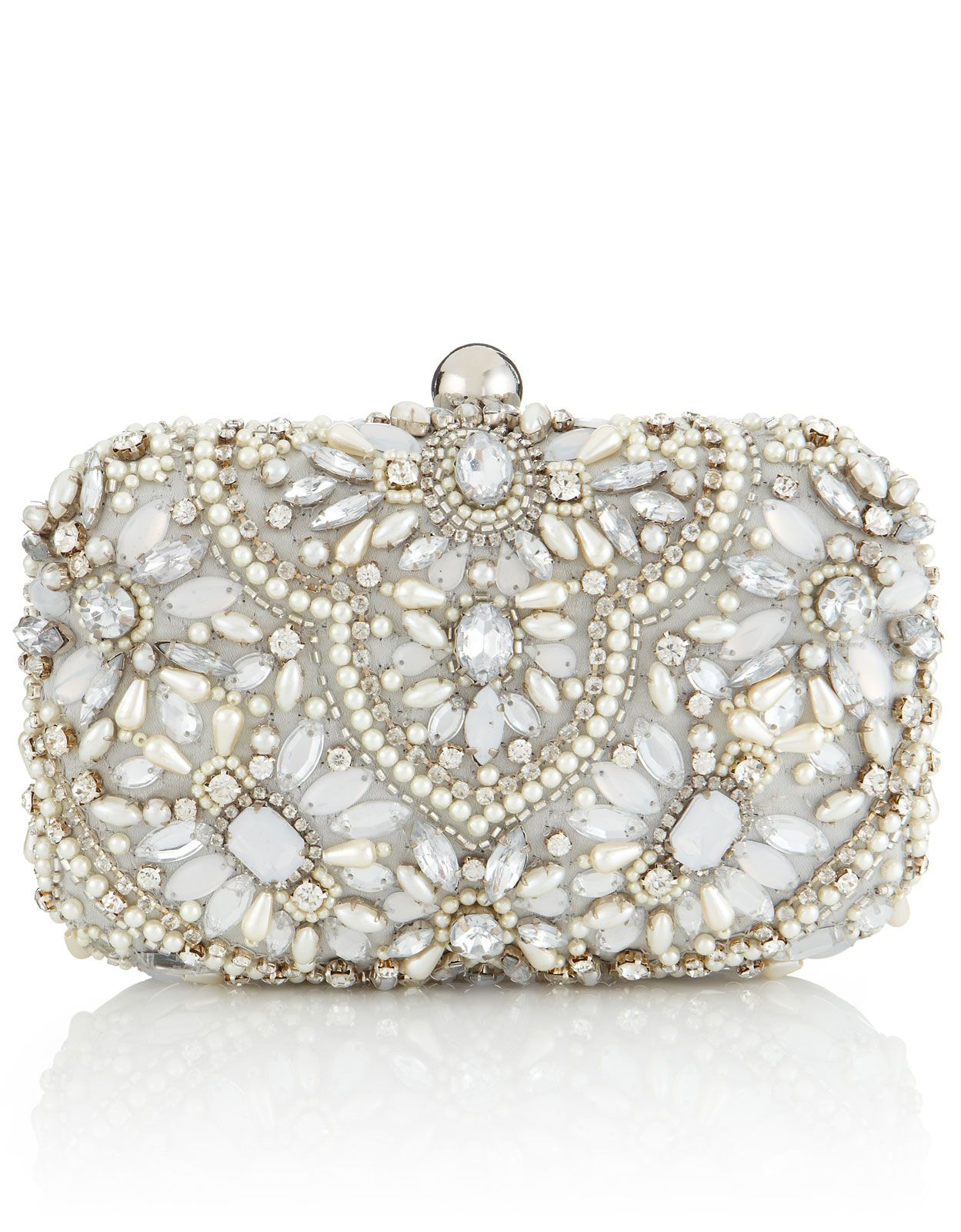 Heavy Embellished Box Clutch Bag Ivory Accessorize In