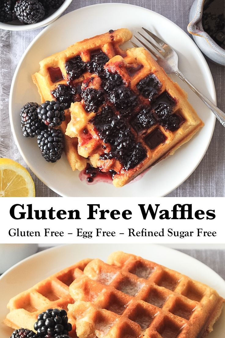 Gluten Free Waffles (Egg Free) EASY overnight Gluten Free Waffles with blackberry maple syrup! Make them the night before, leave them out to rise and pour the batter straight into your waffle iron in the morning! They're as easy as frozen waffles but so much more delicious! |