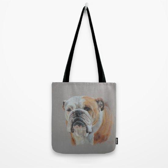 Bulldog Puppy Pastel Drawing Tote bag