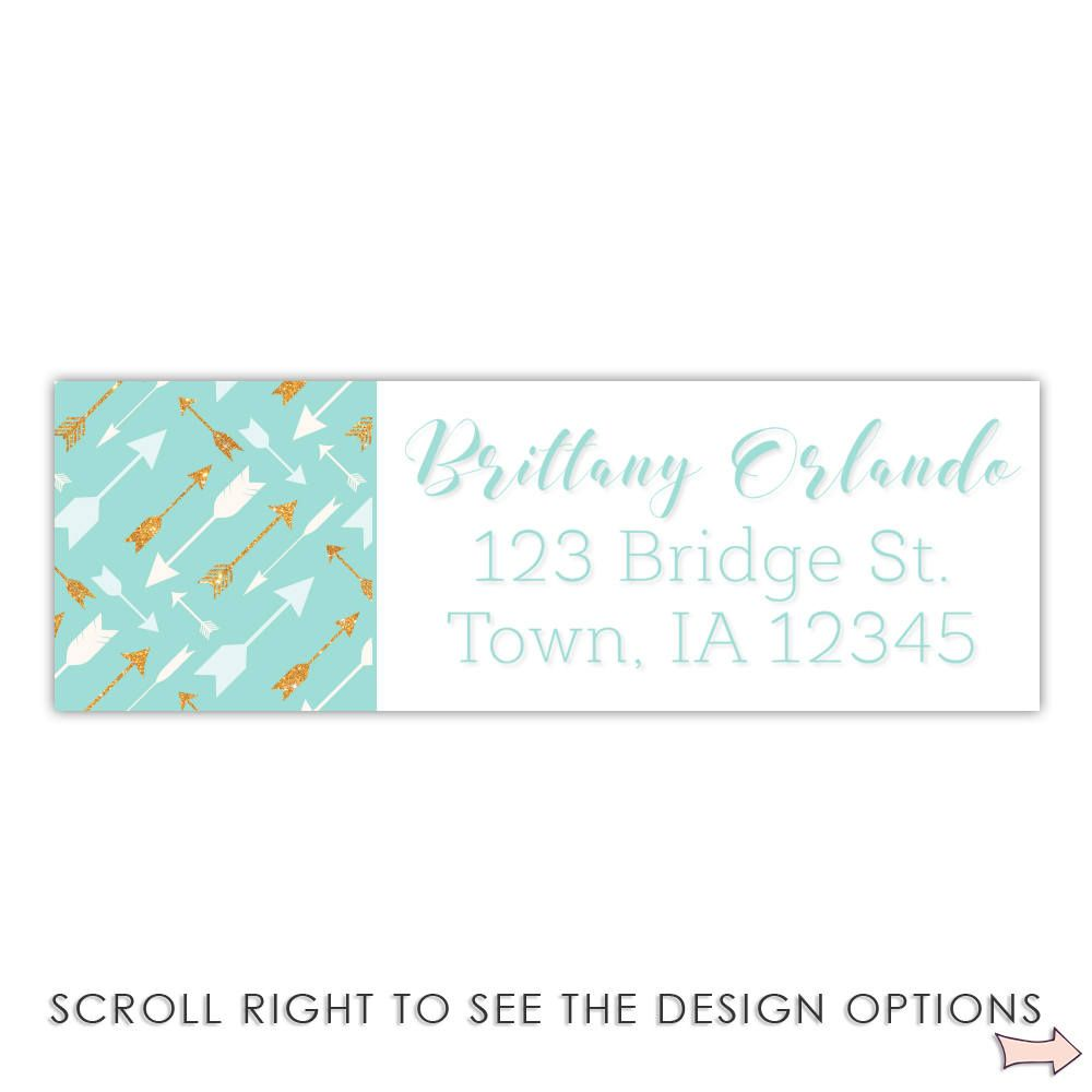 return address label boho chic feather arrows personalized return