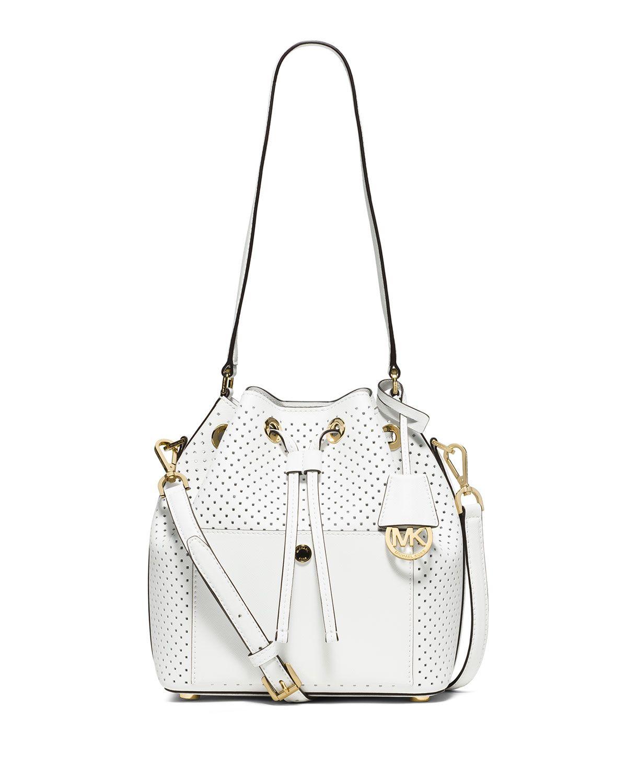 6ef888342869 MICHAEL Michael Kors Greenwich Medium Perforated Saffiano Bucket Bag ...