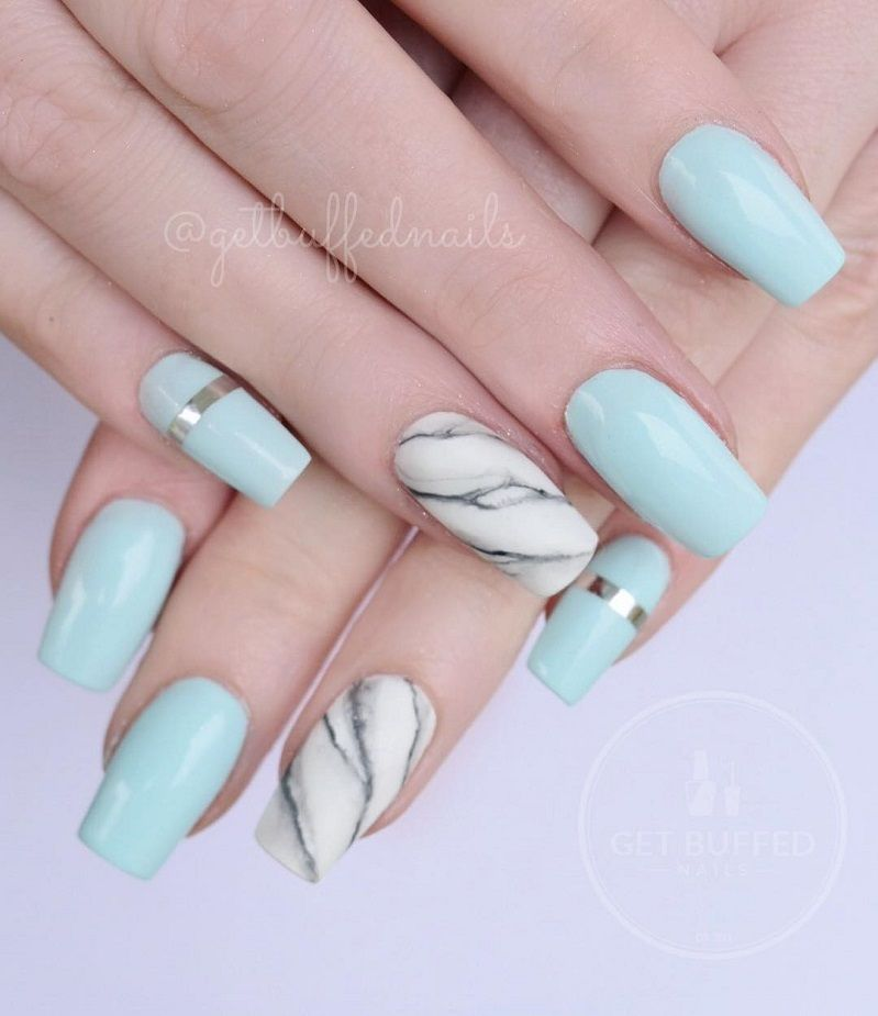 Beautiful Mismatched Nail Art Design With Images Short Coffin Nails Designs Coffin Nails Designs Short Coffin Nails