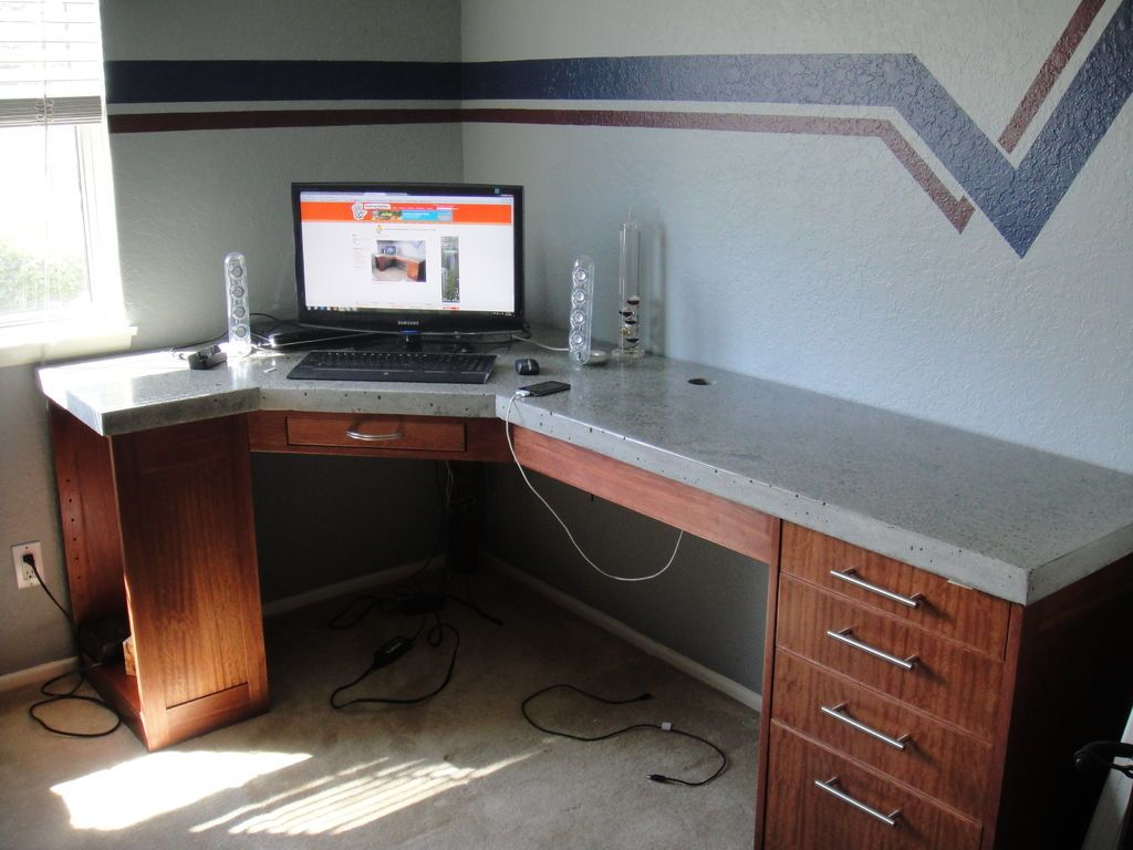 How To Build A Polished Concrete Desk Concrete Table Top - Desks incorporate recessed computer technology