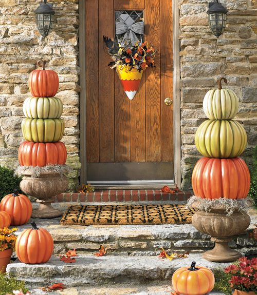 Dress up your front porch with a stylish doormat, plus stacks of - natural halloween decorations