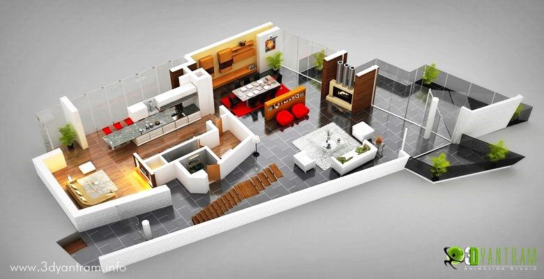 3d House Ground Floor Plan Design Moscow Architectural Design Studio Floor Plan Design Modern Floor Plans
