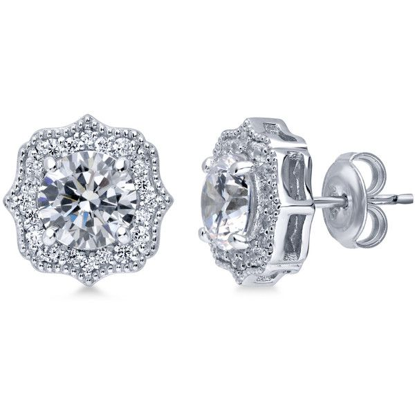 vintage cz earrings deco ctw halo stud jewelure art collections