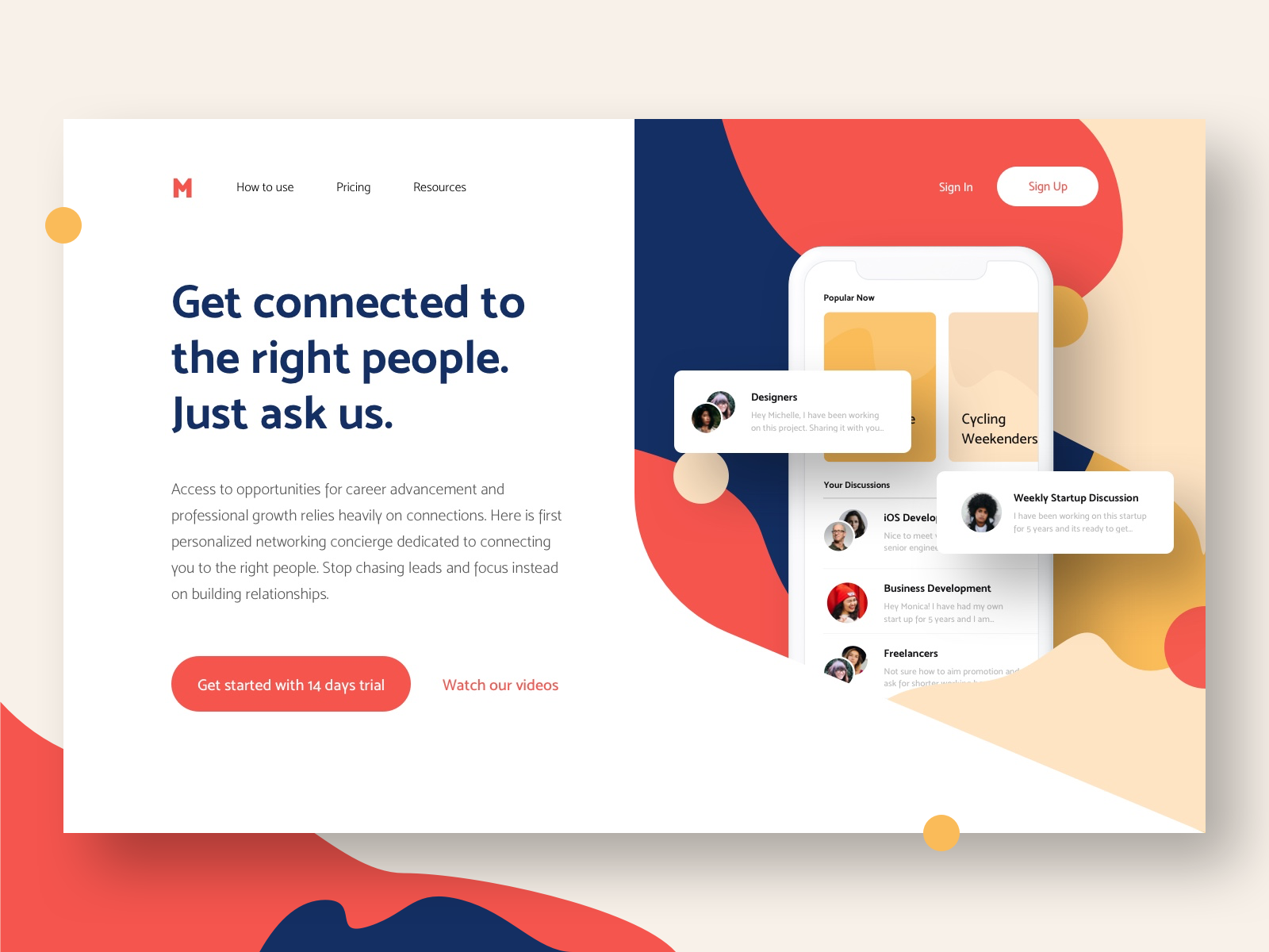 Landing page for Meetup App in 2020 Landing page, Career