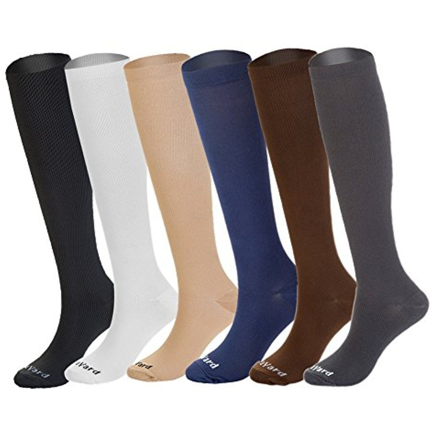 866cc40473 NovaYard 6 Pairs Knee High Graduated Compression Socks For Women and Men (15-20mmHg)  Best Medical,Running #TeamSports