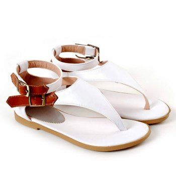 Women Buckle Design Colorful Flip-Flop Sandals