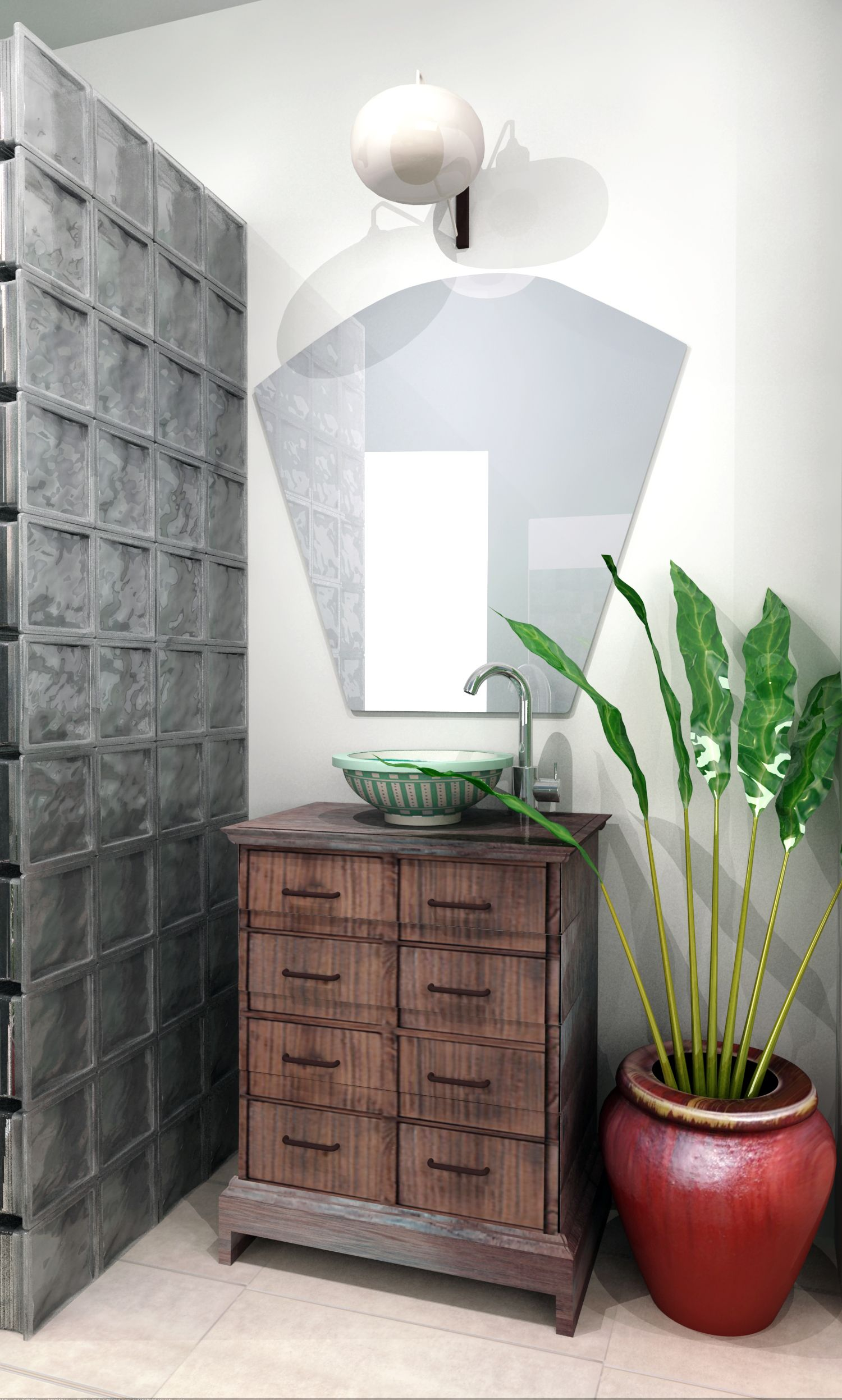 Design and renovation of a warm, cozy and tropical bathroom with a ...