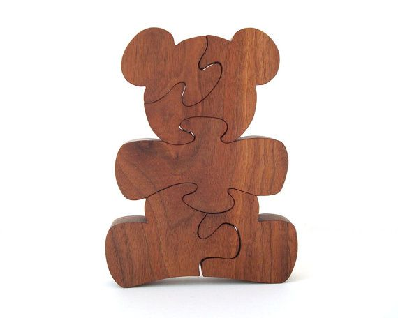 Wooden Teddy Bear Puzzle Waldorf Childrens Toy Country Animal