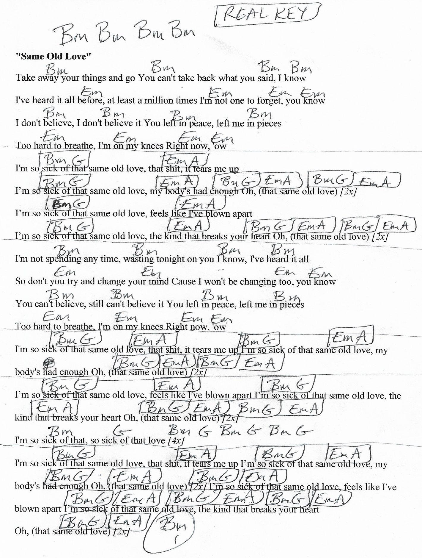 Same Old Love Selena Gomez Guitar Chord Chart in Bm REAL KEY