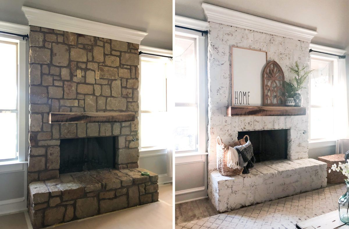 How To German Schmear A Stone Fireplace Stone Fireplace Makeover