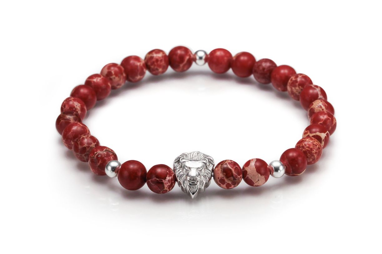 Jasper red with sterling silver lion beaded bracelets for men and