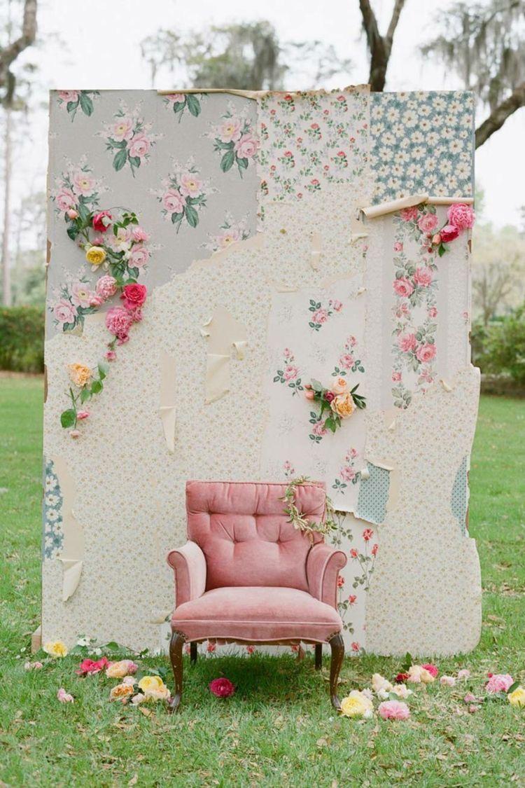 Hochzeit Im Freien Hochzeit Vintage Wand Blumentapete Sessel