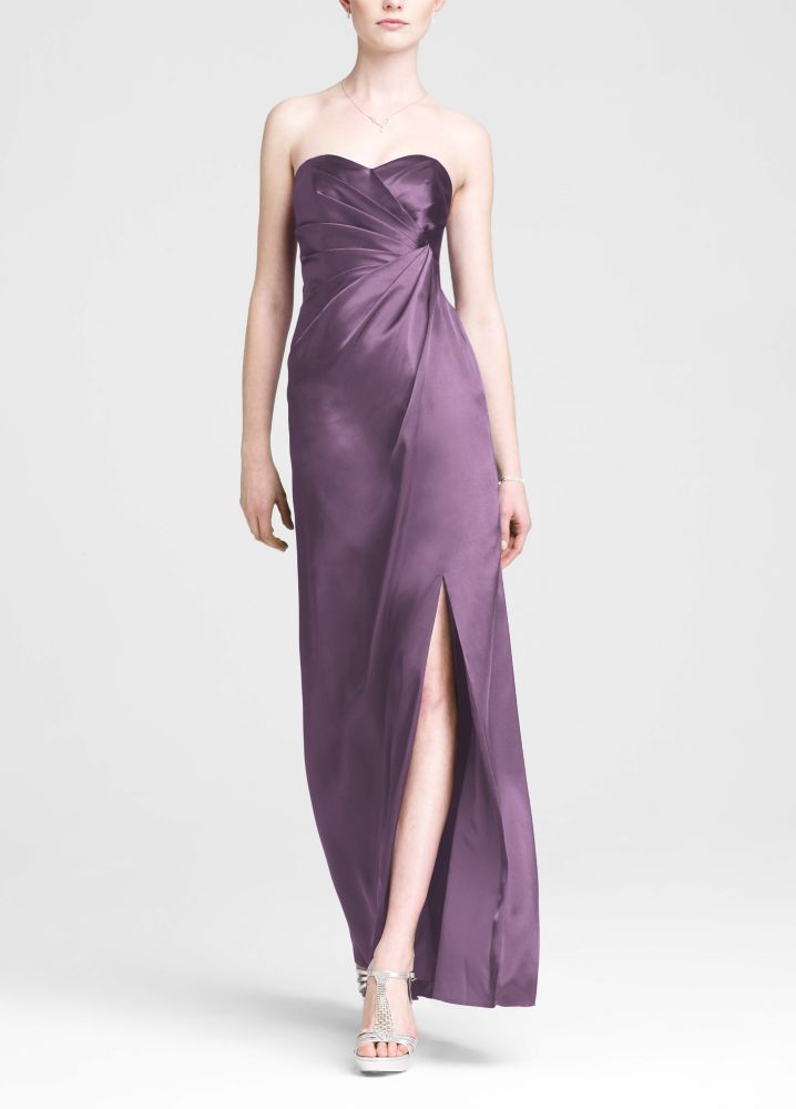 Strapless Long Charmeuse Bridesmaid Dress with Slit - Wisteria ...
