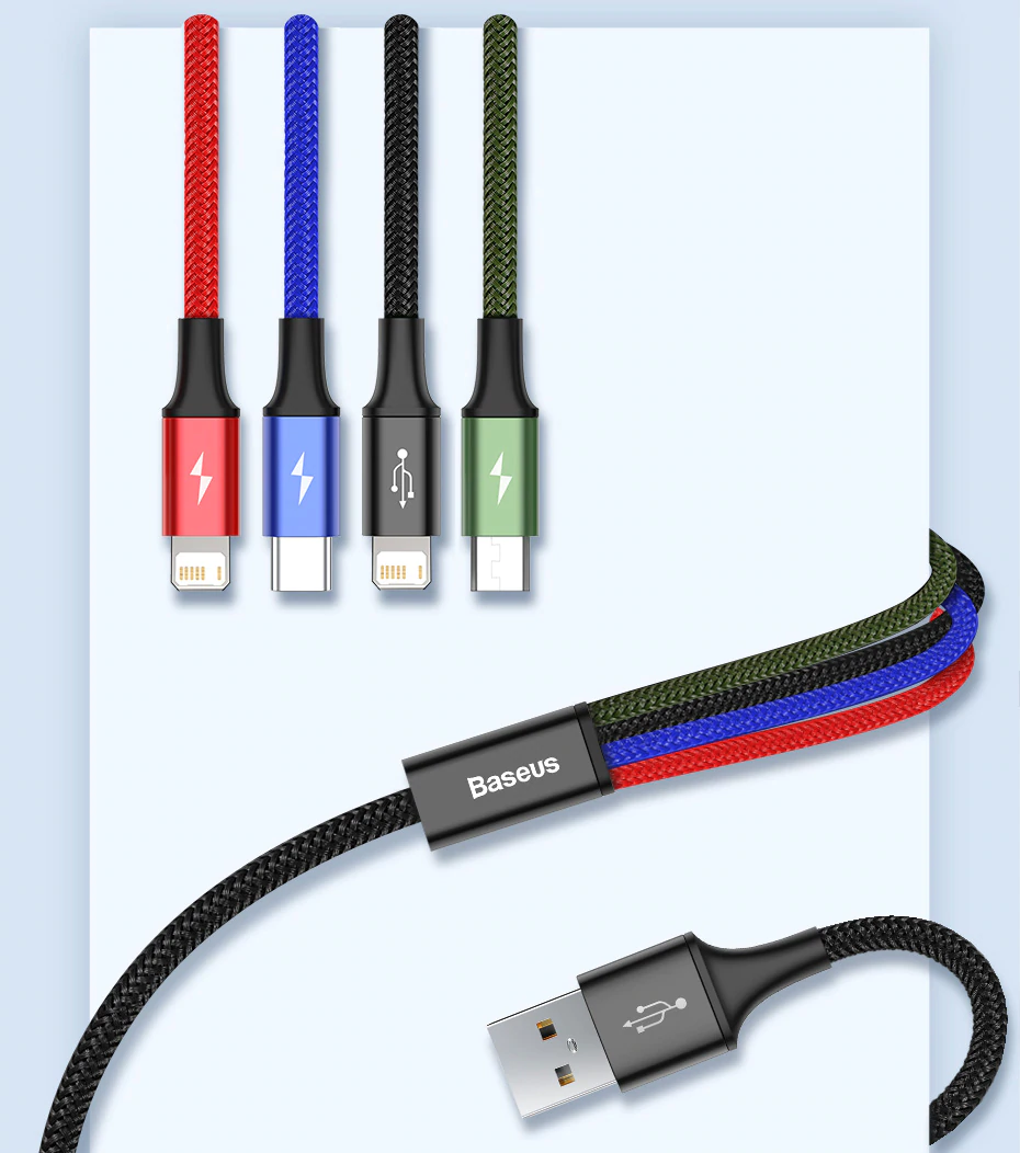 Baseus 3 In 1 Usb Cable Type C Cable For Samsung S20 Xiaomi Mi 9 4 In 1 Cable For Iphone 12 X 11 Pro Max Charger Micro U In 2021 Phone Cables Micro Usb Cable Usb Cable