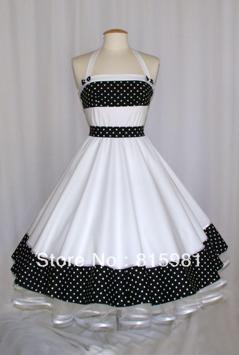 White with Polka Dot Petticoat Rockabilly Swing Dress 50\'s Girls ...