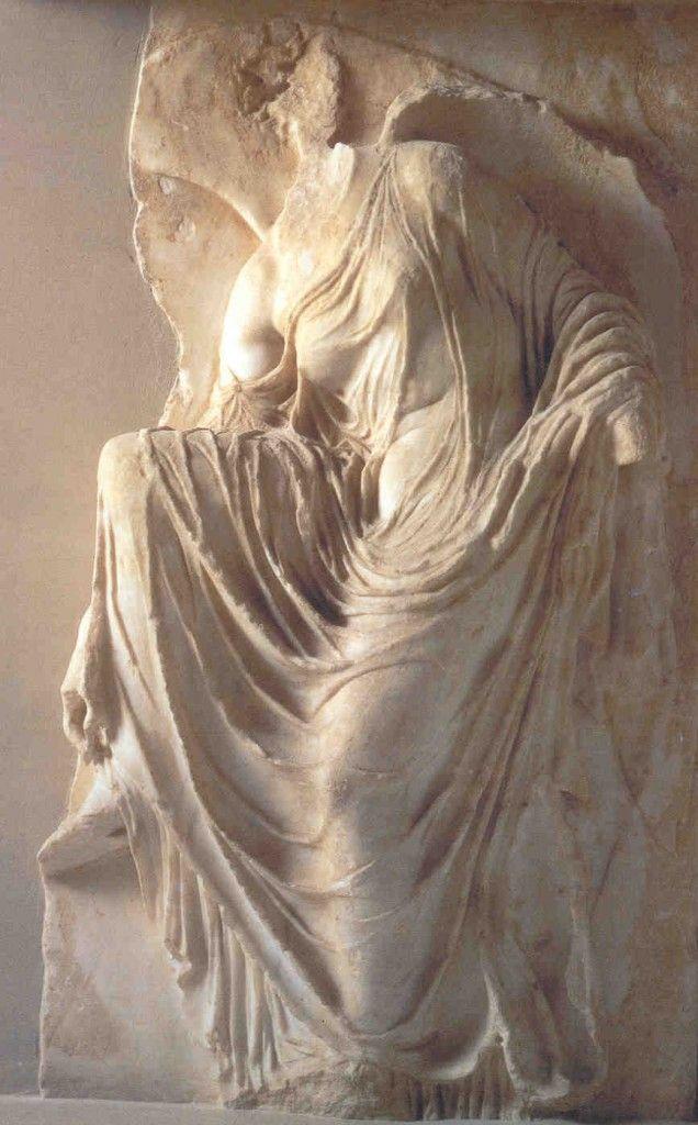 Nike adjusting her sandal, south side of parapet of Temple of Athena Nike,  Acropolis