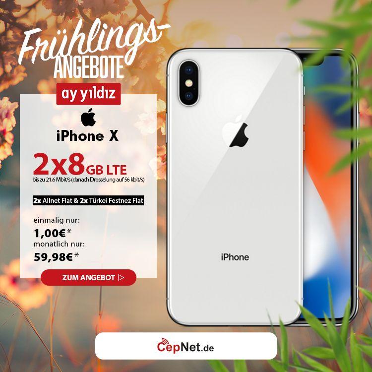 Fruhlings Angebote Apple Iphone X 64gb Space Grau Mit Gunstigem Ay Yildiz Ay Allnet Plus Double Vertrag Https Ww Mobilfunk Iphone Apple Iphone