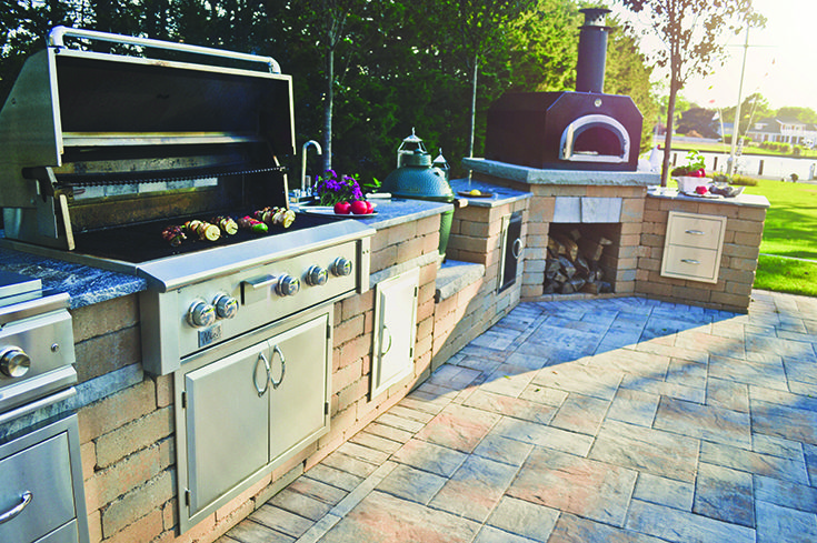 Outdoor Kitchen Island With Grill Sink Pizza Oven Refrigerator An Outdoor Kitchen Expands Yo Outdoor Kitchen Island Kitchen Without Island Outdoor Kitchen