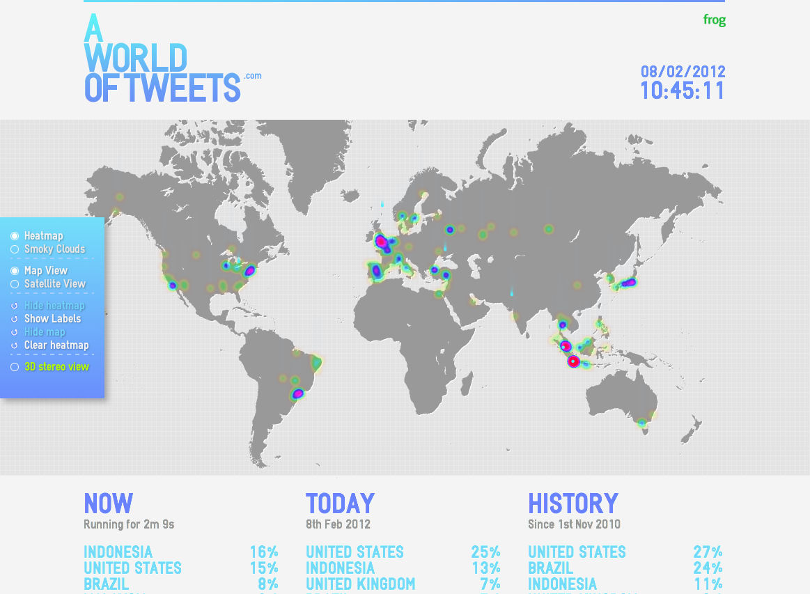 A world of tweets real time visualization of tweets around the marketing through infographics 100 incredible infographics tools and gumiabroncs Image collections