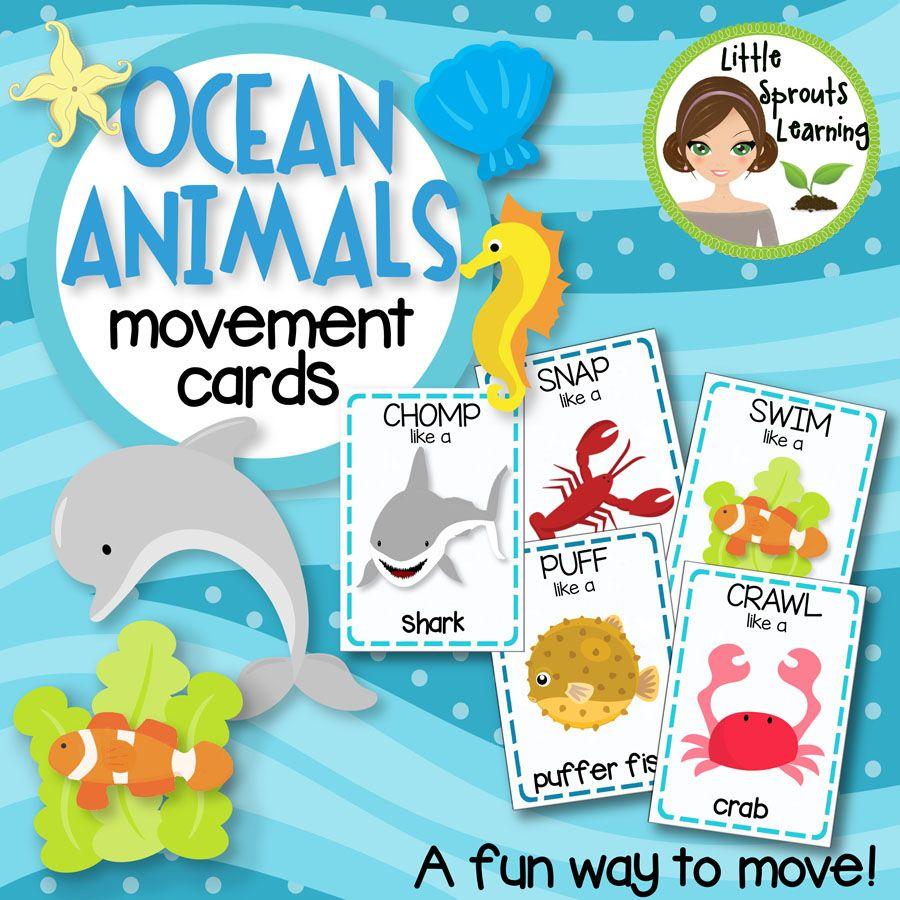 Ocean Animals Movement Cards Brain Breaks Transition Activity Animal Movement Ocean Animals Transition Activities [ 900 x 900 Pixel ]