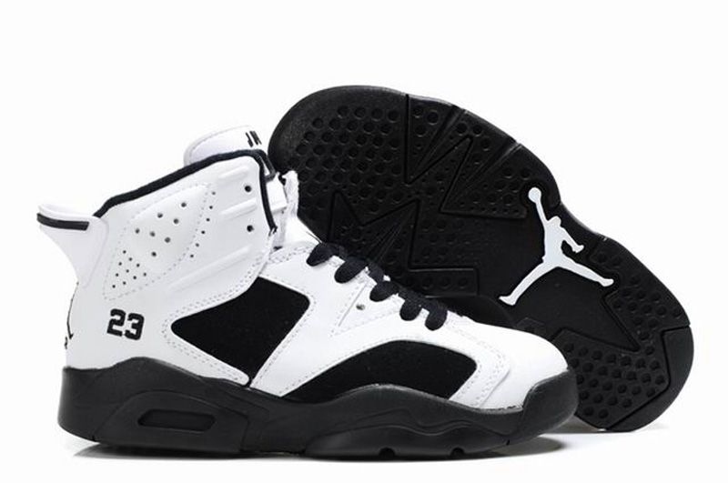 low priced 272e9 252eb New Nike Air Jordan 6 VI Retro Kids Shoes Black White
