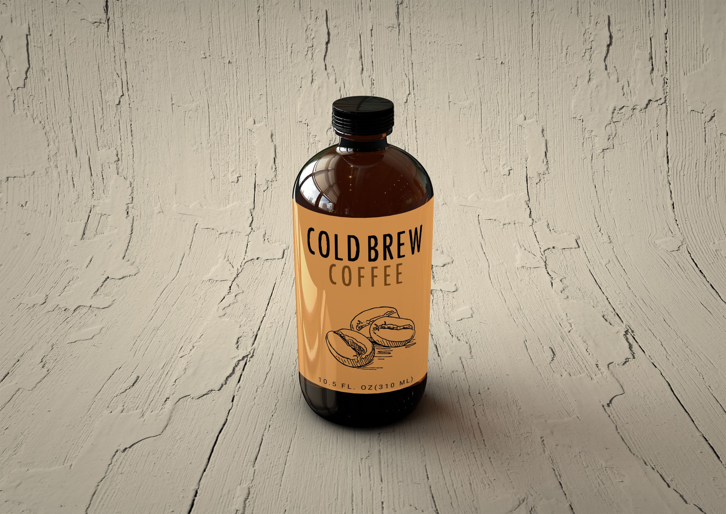 Free Cold Brew Coffee Bottle Label MockUp Coffee brewing
