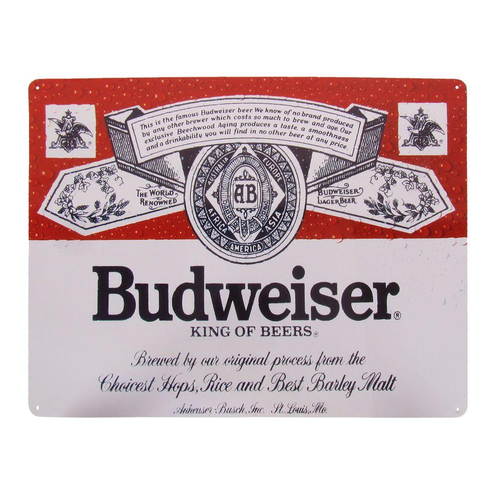 Vintage Style Tin Budweiser King Of Beers Beer Sign Man